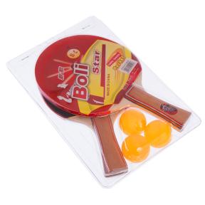 Набор для настольного тенниса 2 ракетки, 3 мяча Boli Star MT-9000 (древесина, резина, уп. блистер)