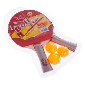 Набор для настольного тенниса 2 ракетки, 3 мяча Boli Star MT-9004 (древесина, резина, уп. блистер)