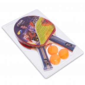 Набор для настольного тенниса 2 ракетки, 3 мяча STG FORCE МТ-6367 (древесина, резина)