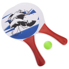 Набор ракетки и мячик для пляжного тенниса IG-5506 (дерево, PVC, размер 33x19см, 2 ракетки + 1 мячик)