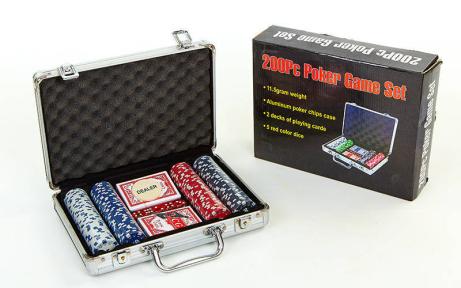 Набор для покера в алюминиевом кейсе IG-2056 на 200 фишек с номиналом (2 кол.карт,5куб)