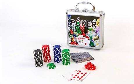 Набор для покера в алюминиевом кейсе IG-4392-100 на 100 фишек без номинала (2кол.карт, 5куб)