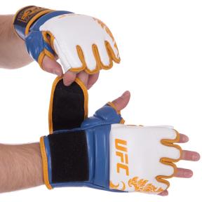 Перчатки для смешанных единоборств MMA кожаные UFC TrueThai UTT-75399 (р-р S-M, синий-белый)