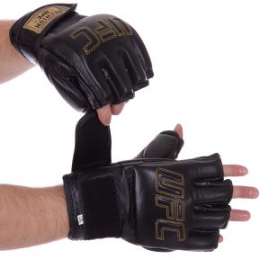 Перчатки для смешанных единоборств MMA кожаные UFC PRO Prem UHK-75059 (р-р L-XL, черный)