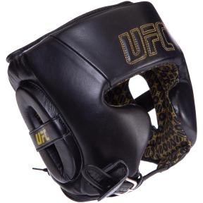 Шлем боксерский в мексиканском стиле кожаный UFC PRO Prem Lace Up UHK-75056 (р-р L-XL, черный)