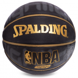 Мяч баскетбольный Composite Leather №7 SPALDING 74634Z NBA HIGHLIGHT GOLD Indoor/Outdoor (черный-желтый)