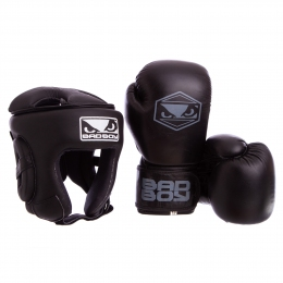 Комплект для бокса (шлем, перчатки) BAD BOY STRIKE VL-6626-6615-BK размер M-XL, 10-14oz черный